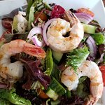 Yummy salad with grilled shrimp