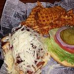 BBQ supreme chicken sandwich with waffle fries.