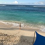 view from beach front fale deck; twenty metres to water's edge