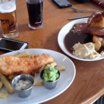 Beer battered cod & chips; roast beef w yorkshire pudding, rooted vegetables and potatoes