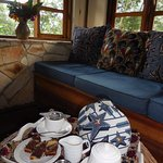 Afternoon tea in my deluxe banda (tea grown at their community project). Marble cake was very go