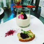 Goat's cheese panna cotta, textures of beetroot and Parma ham crisp