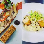 Game terrine, pistachio sponge and prosciutto wafers, followed by wild mushroom risotto, smoked