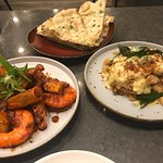 Tiger prawns, soft shell crabs, garlic naan