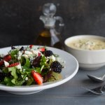 Everyone's favorite soup and salad! Nuts & Berries Salad paired with Cream of Crad Soup