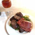 Duck carpaccio, blueberry boar sausage, Marquis microbrew