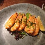 Delicious roast king prawns