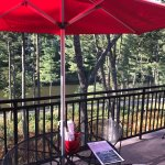Patio with bike trail and river views