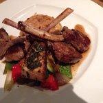 Lamb and salmon with sauteed veg