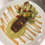 bronzed salmon crab & avocado salad