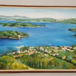 Photo of painting in hotel showing Nidri and the many islands