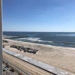 view of boardwalk and beach from ocean front room