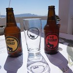 (Crazy) Donkey beer is a very popular beer in Santorini and available in most places