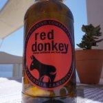 Donkey beer is a very popular beer in Santorini Greece August 2017