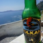 Zafora Restaurant Fira Greece - great view - August 2017 - the other beer - fruity