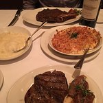 Lobster mac and cheese, mashed potatoes and ribeye and filet steaks