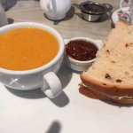 Mug of soup and half a sandwich - perfect combination and just the right size!
