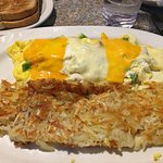 western omelet with rye toast