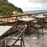 Outdoor patio seating for breakfast