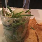 Margarita Ceviche with Tequila Ice and tortilla chips