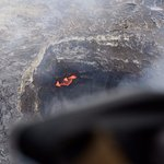 Active Lava crater as seen from helicopter