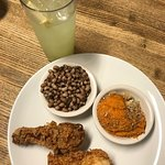 Fried chicken, sweet potato casserole, field peas and fresh lemonade
