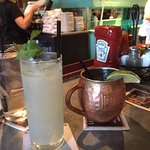 Tequila Ginger Fizz (awesome), Moscow mule (also very good)