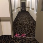 one doorway in one hall to our room...my shoes showing the width of door.