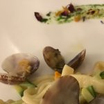 Clams pasta with zucchini flowers