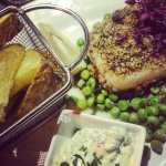 Chorizo crusted cod with minted peas & chips
