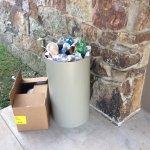 Trash piled up at entrance