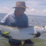 80 lb tarpon caught on a fly rod within sight of Tarpon Caye Lodge