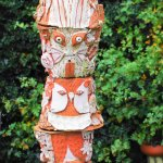 the Eastnor Totem pole designed of creatures of the forest