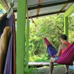 Relaxing in hammocks.