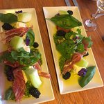 Melon, Procuitto, Blackberry & Basil Rocket Salad in olive oil - YUMMO