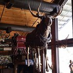 The moose and sleigh at the Mangy Moose restaurant in Teton Village