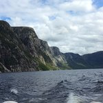 Exiting the fjord on Western Brook Pond