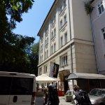 The exterior facade of the hostel