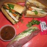 Bánh mì, sausage spring roll, peanut dipping sauce
