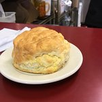 This is their homemade biscuit. It is on a bread plate, it is huge and very tasty!