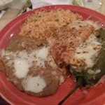 Chile relleno was marvelous. Tamale, rice & beans excellent.