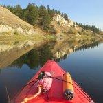 Kayaking back towards Columbia River Paddle base on a beautiful Fall evening.