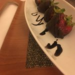 Complimentary chocolate covered strawberries from in-room dining.
