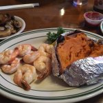 Great! Shrimp juicy, great homemade sauce, buttery mushrooms, and creamy sweet potato.