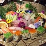 colourful flora sashimi/sushi platter