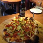 Veggie Pizza and beer at the Hungry Buddha!