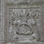 Blason des Seigneurs du Moulin au dessus de l'Entrée du Château avec les Deux Lion et le Haume d