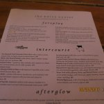 Here's the Menu: Foreplay; Intercourse & Afterglow
