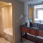 The bathroom was very nicely arranged, with the washbasin outside of the toilet area. Good desig