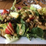 A tasty salad but too much dressing!